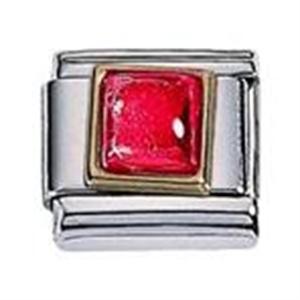 Afbeelding van Zoppini - 9mm - synthetische steen vierkant rood