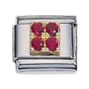 Afbeelding van Zoppini - 9mm - vierkant rood zirkonia